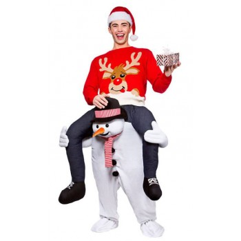 Winter Christmas Snowman Carry Me Mascot Fancy Dress Costume