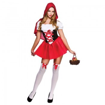 Ladies Little Red Riding Hood Fairy Tales Outfit - (Red)