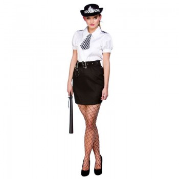 Ladies Constable Cutie Cops/Robbers Outfit - (White, Black)