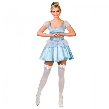 Ladies Blue Cute Cinders Fancy Dress Costume