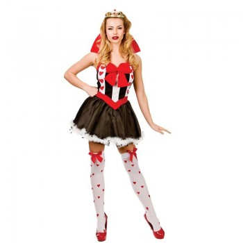 Ladies Red And White Fairy Tale Queen Of Hearts Fancy Dress Costume