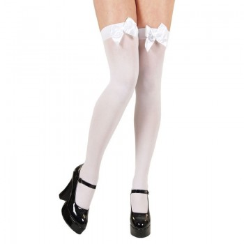 White Thigh Highs With White Bow - Fancy Dress Ladies