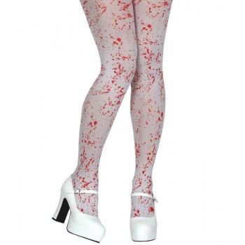 White Tights With Blood Spattered Print Fancy Dress