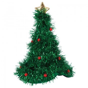 Adult Unisex Christmas Tree Hat With Tinsel Christmas Hats - (Green)