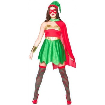 Ladies Elf Super Hero Christmas Fancy Dress Costume