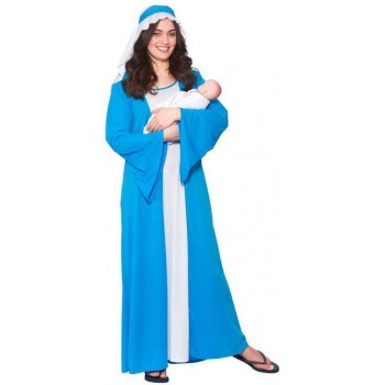 Ladies Blue Mary Nativity Christmas Fancy Dress Costume