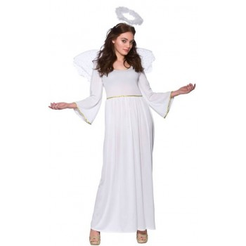 Ladies White Nativity Angel Christmas Fancy Dress Costume