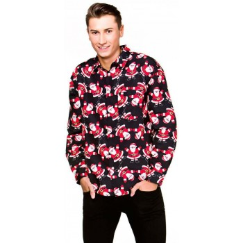 Mens Black Christmas Shirt With Santa's Fancy Dress Item