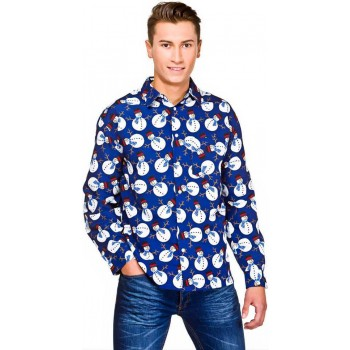 Mens Blue Christmas Shirt With Snowmen Fancy Dress Item