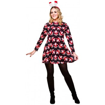 Ladies Black Christmas Dress With Santa's Fancy Dress Outfit.
