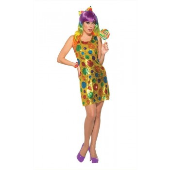 Clown Polka Dot Sequin Fancy Dress Costume