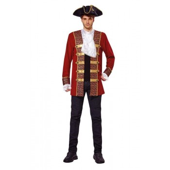 Pirate Coat Red w/Attached Cuffs/Jabot