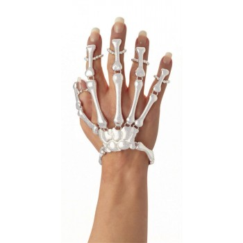 Ladies White Skeleton Hand Bracelet Halloween Fancy Dress Accessory