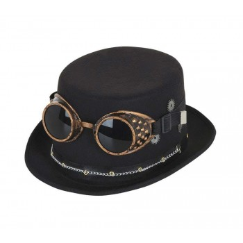Steampunk Top Hat Black w/ Goggles & Gears Fancy Dress