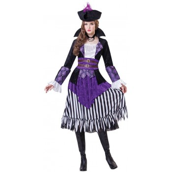 Ladies Purple Pirate Queen Fancy Dress Costume