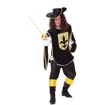 Mens Musketeer Man. Black Musketeer Outfit - One Size (Black)