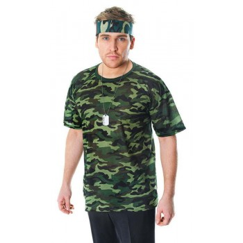 Mens Camouflage T-Shirt Army Outfit - One Size (Camo )