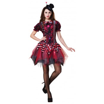 Ladies Red Horror Clown Halloween Fancy Dress Costume
