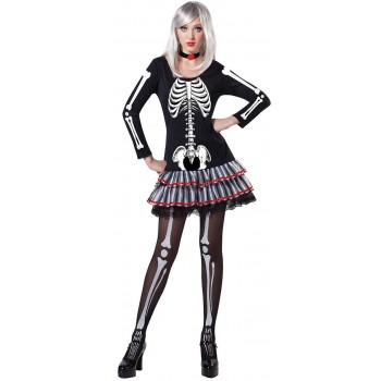 Ladies Skeleton Maiden Halloween Fancy Dress Costume