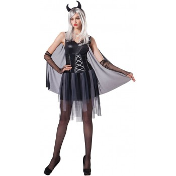 Ladies Black Devil Lady Halloween Fancy Dress Costume
