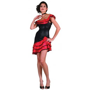 Ladies Spanish Lady Spanish Outfit - One Size (Red, Black)