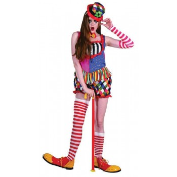 Ladies Rainbow Clown Female Clowns Outfit - One Size (Multicolour)