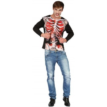 Adults Skeleton Chained 3D Printed Shirt Halloween Fancy Dress Accessory