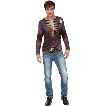 Adults Zombie Bridegroom 3D Print Shirt Halloween Fancy Dress Accessory