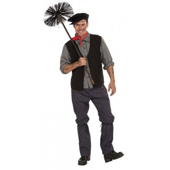 Mens Chimney Sweep Outfit - One Size (Black, Grey)