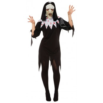 Ladies Black Zombie Nun Halloween Fancy Dress Costume