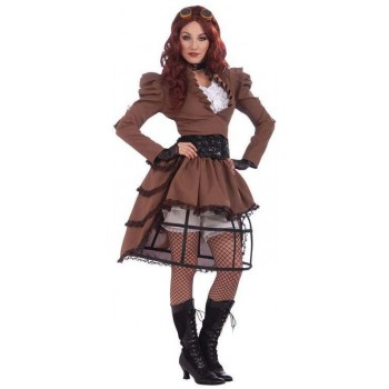 Ladies Brown Steampunk Vicky (Hoop Skirt) Fancy Dress Costume