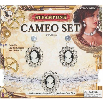 Ladies Steampunk Cameo Ear Rings/Choker Set Fancy Dress Accessory