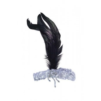 Silver Headband With Black Feathers Accessories