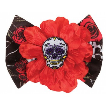 Ladies Day Of The Dead Rose Hair Clip Halloween Fancy Dress Accessory