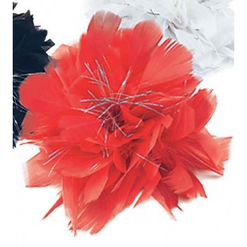 Hair Clip Red Feather/Tinsel (Fancy Dress)