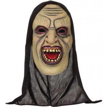 Adults Demon Open Mouthed Mask With Hood Halloween Fancy Dress Accessory
