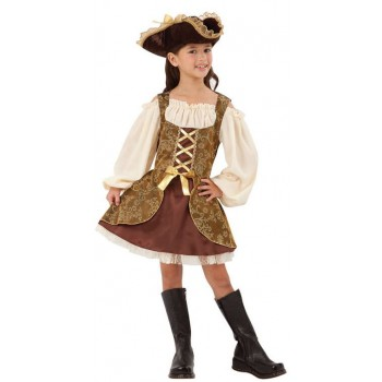 Girls Golden High Seas Pirate Fancy Dress Costume