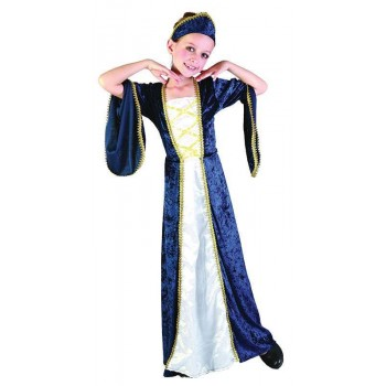 Girls Regal Princess Blue Fairy Tales Outfit - Age 7-9 (White, Blue)