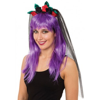 Ladies Day Of The Dead Rose Veil Halloween Fancy Dress Accessory