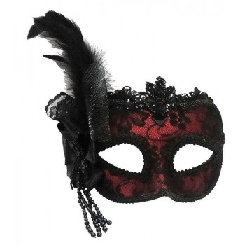 Red/Side Feather Mask On Headband Masks