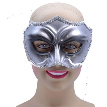 One Size Silver/Black Male Eye Mask Fancy Dress Accessory