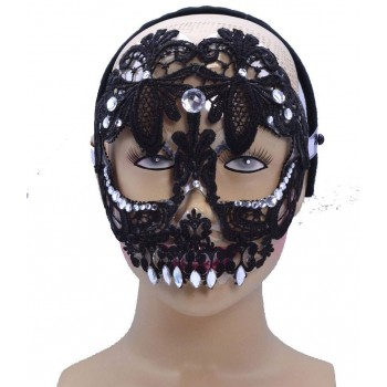 One Size Sugar Skull Eye Mask Black Fancy Dress Accessory