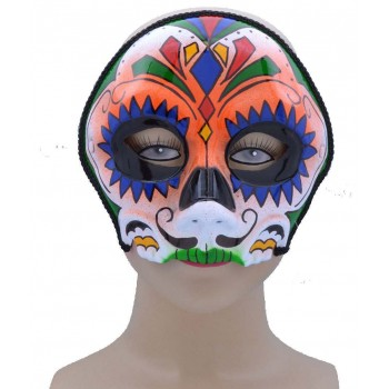One Size Sugar Skull Style Eye Mask Orange Mix Fancy Dress Accessory