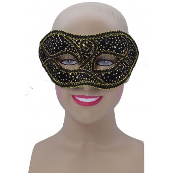 One Size Black/Gold Spotted Eye Mask Fancy Dress Accessory