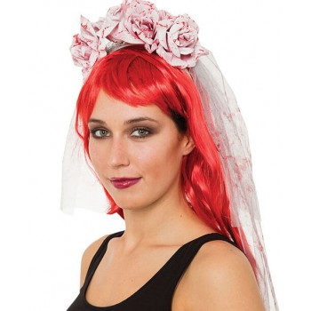 Ladies Day Of The Dead Bloody Rose Veil Halloween Fancy Dress Accessory