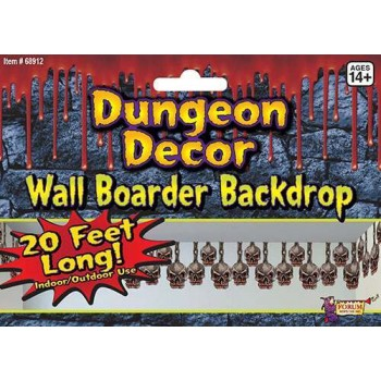 Dungeon Decoration 20 Foot Skull Border Halloween Decoration.