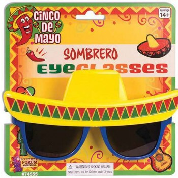 Adult Mexican Sombrero Glasses Fancy  Dress Accessory