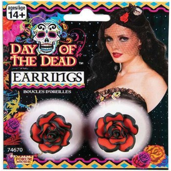 Ladies Day Of The Dead Rose Earrings Halloween Fancy Dress Accessory