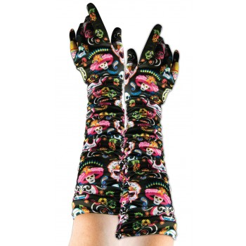Ladies Day Of The Dead Gloves Halloween Fancy Dress Accessory
