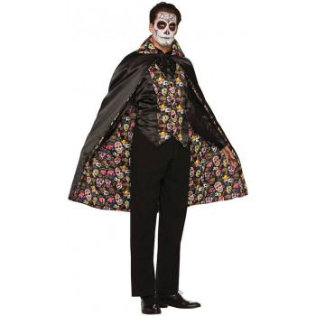 Adults Day of the Dead Cape Halloween Fancy Dress Costume